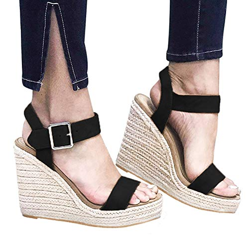 XMWEALTHY Women's Wedge Sandals Casual Sandals Shoes Summer Ankle Buckle Open Toe Wedges Heels US Size 8 Black