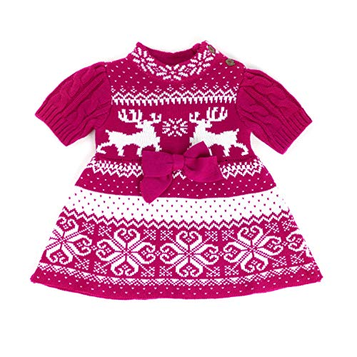 MARIA ELENA - Toddler Hugs and Kisses Nordic Knitted Tunic Sweater Dress in Hot Pink 4T