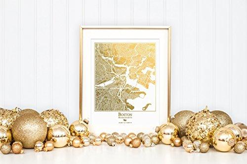 Boston Ale - Boston Map Gold Foil Print, Great Housewarming or Graduation Gift