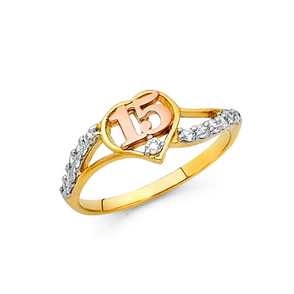 Sweet 15 Quinceanera Ring Solid 14k Yellow White Rose Gold Quince Band Heart CZ Curve Style , Size 6