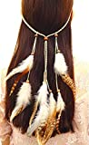 P-LINK Headwear Feather Fascinator Headband Tassels Hair Band Women Girls pochantas Bohemian Dream Catcher Earrings Jewelry pocohantas Costumes Dreamcatcher Clip Feathered (Type-C)
