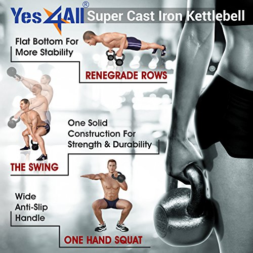 Yes4All  Combo Cast Iron Kettlebell Weight Sets – Great for Full Body Workout and Strength Training – Kettlebells 5 10 15 lbs (Black) by Yes4All (Image #5)