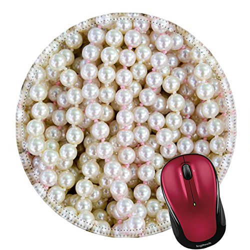 Liili Round Mouse Pad Natural Rubber Mousepad pearl balls necklace pattern texture for jewellary background IMAGE ID 10743424