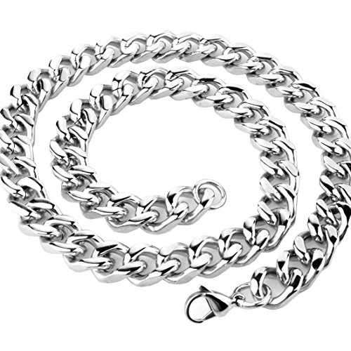 Fashion Mens Necklace Silver Stainless Steel Curb Cuban Chain 9mm,11mm,13mm,15mm Width;16-40 inch Length (18, ()