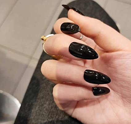 False Nails - Uñas postizas largas desmontables, color negro ...