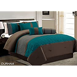 Chezmoi Collection Durham 7-piece Pleated Quilting Bedding Set (Queen, Teal)