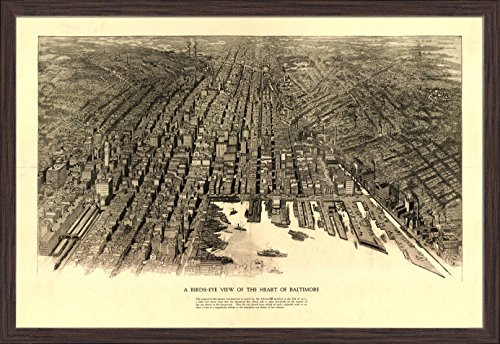 Baltimore, Maryland - Panoramic Map (36x23 1/2 Giclee Art Print, Gallery Framed, Espresso (Baltimore Maryland Map)