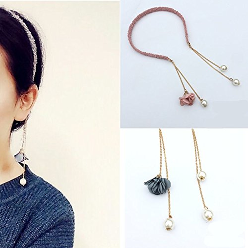 usongs Cute girl exudes head buckle Academy in high spirit decorated dark green ribbon short hair daily necklace pendant lovely wedding elements ()