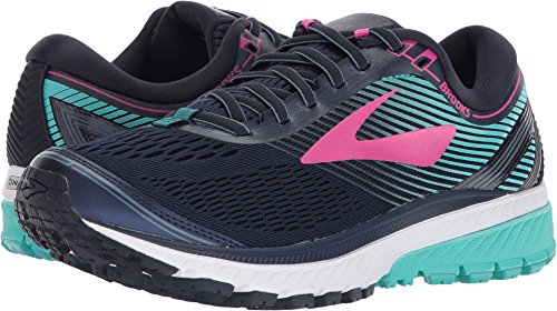 Image of the Brooks Women's Ghost 10 Navy/Pink/Teal Green 9 B US
