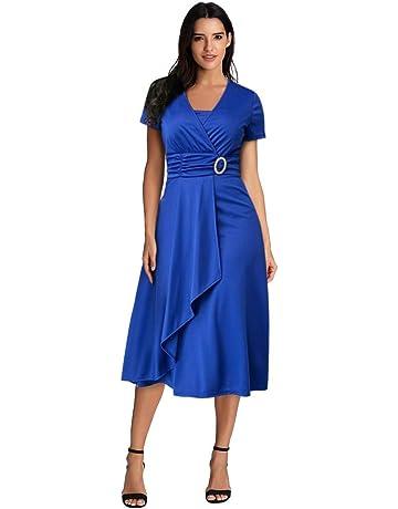 369c9e5968 Women's Plus Size Button Pleated Dress Summer Sexy Asymmetric Hem V-Neck  Ruffled Party Evening