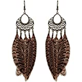 Bohemia Women Earrings Jewelry Brown Feather Party Drop Dangle Ladies Ear Hook