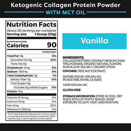 Orgain Keto Collagen Protein Powder with MCT Oil, Vanilla - Paleo Friendly, Grass Fed Hydrolyzed Collagen Peptides Type I and III, Dairy Free, Lactose Free, Gluten Free, Soy Free, 0.88 Pound 2