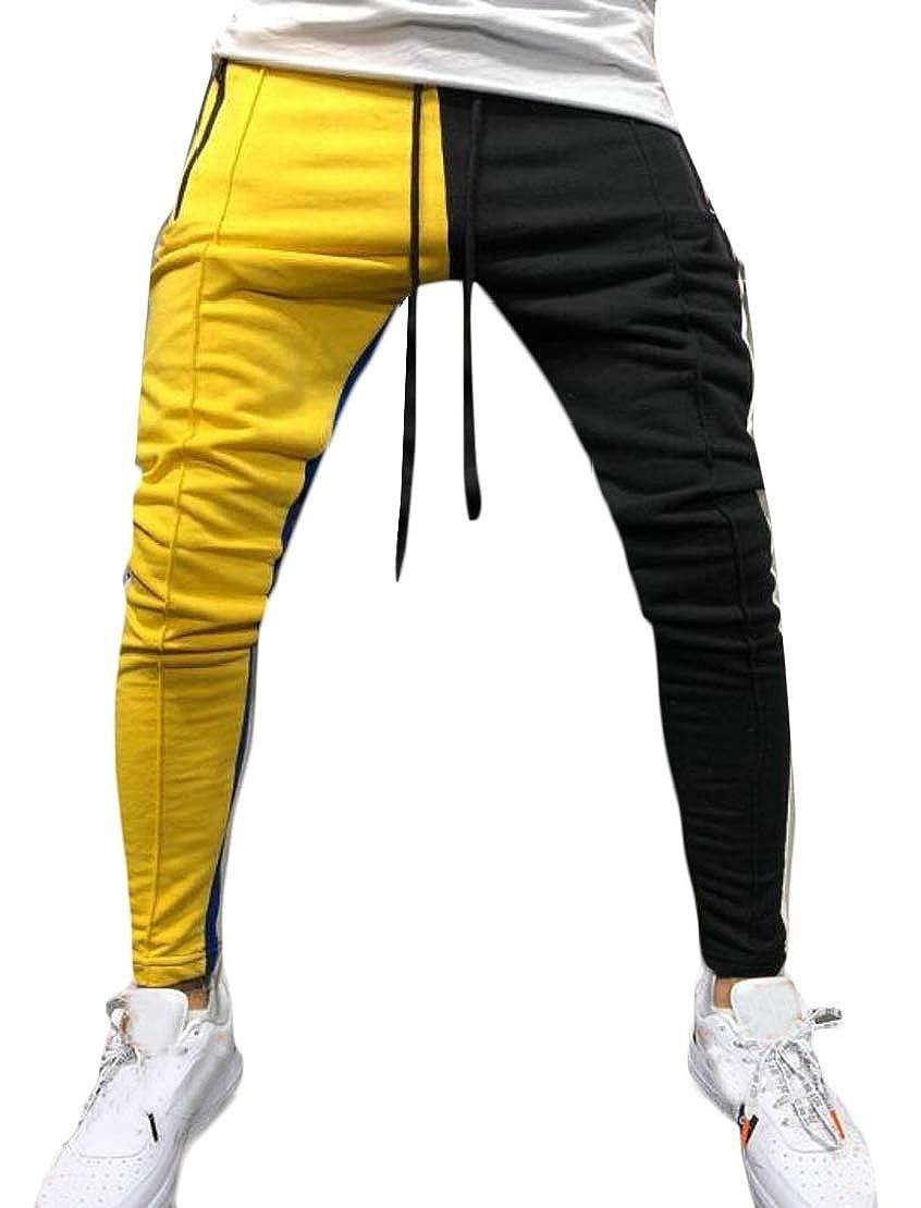 GRMO Men Hip Hop Sport Fashion Drawstring Contrast Color Long Pants