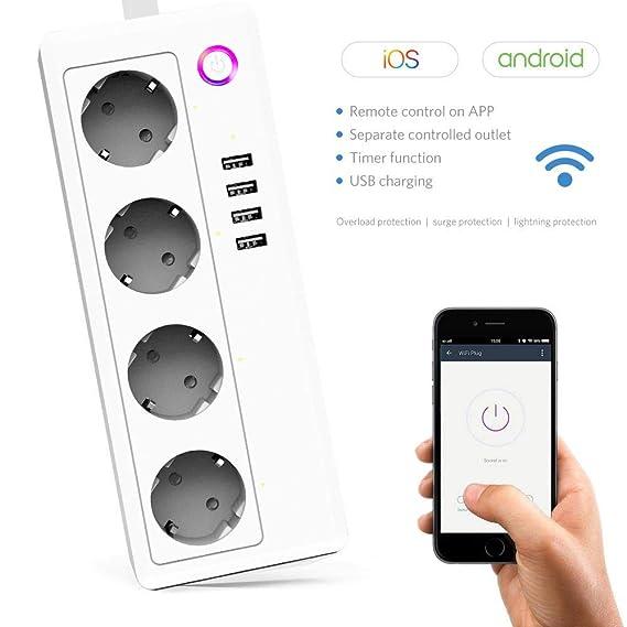 TEEPAO Intelligente WiFi Steckdosenleiste,4 Fach Steckdose + 4 USB Verlängerungskabel mit Überspannungsschutz,MultiStecker AP