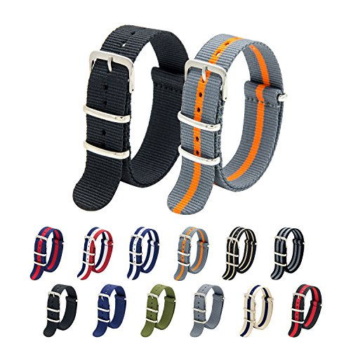 Nato Strap Pack of 2 - 20mm 22mm Premium Ballistic Nylon Watch Bands with Stainless Steel Buckle