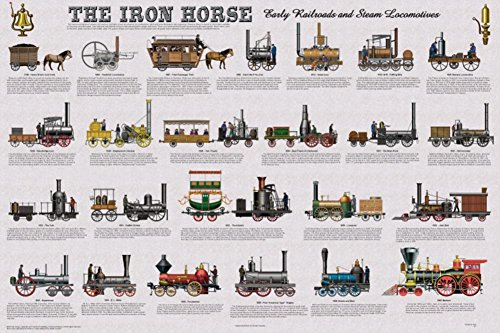 Feenixx The Iron Horse - Early Railroads and Steam Locomotives Educational Poster 36 x 24in