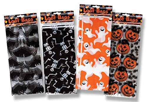 Halloween House Cellophane Candy Loot Bags in Assorted Designs - 50 Pack (Halloween Crafts Candy Holder)