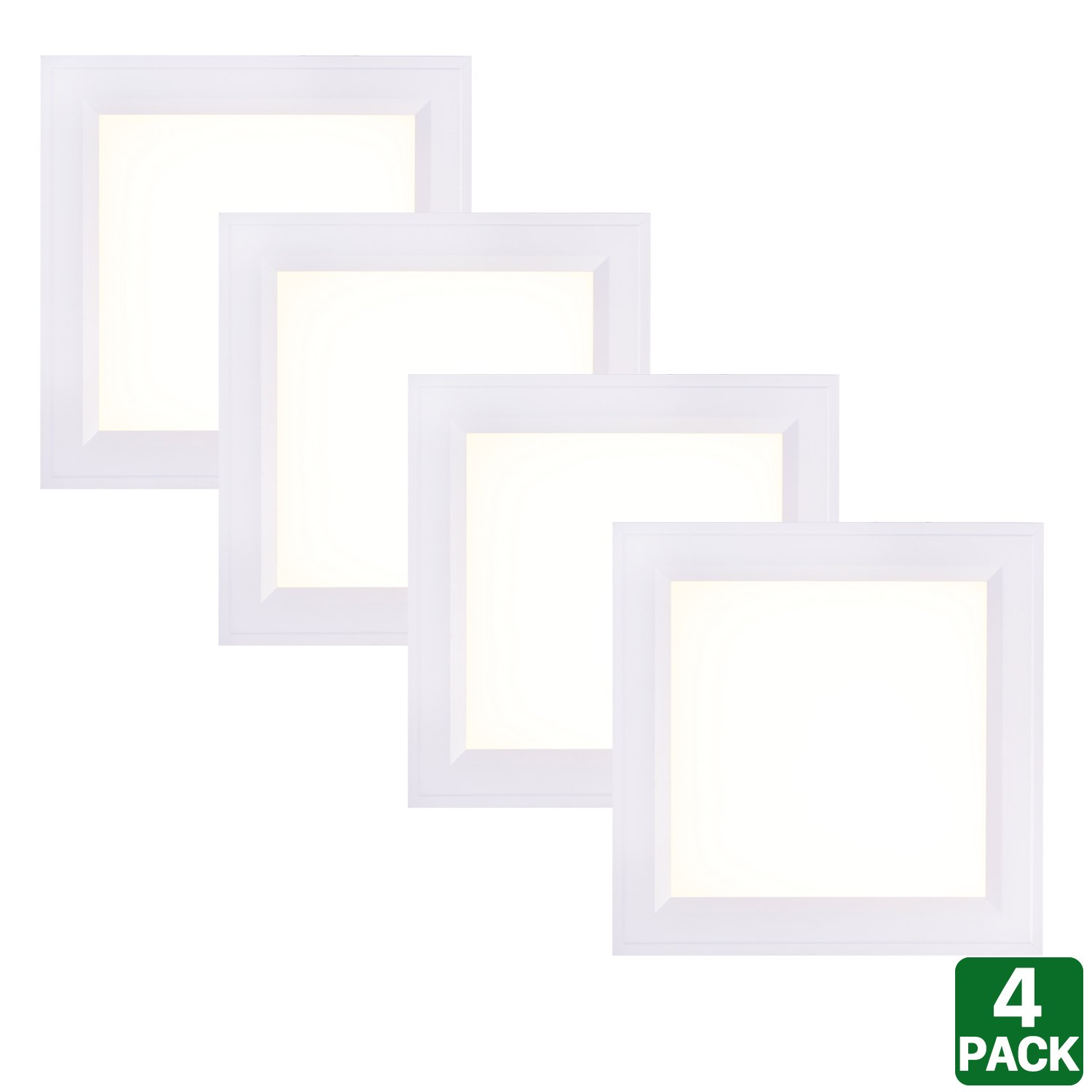 4 Pack Hykolity 1ft X 1ft Ultra Thin Edge-Lit 18W LED Flat Panel Light Residential Flushmount Surface Mount/ Commercial Drop Ceiling Dimmable Ceiling Lamp Fixture 1700lm