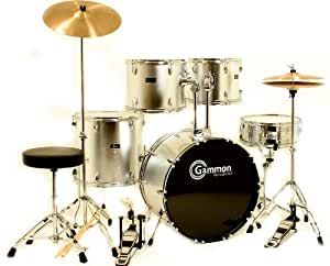 silver drum set for sale with cymbals hardware and stool new gammon 5 piece kit full. Black Bedroom Furniture Sets. Home Design Ideas