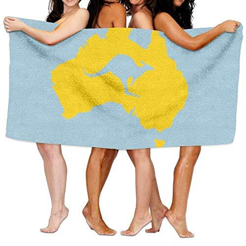 Australia Towel - Guan Tong Beach Pool Custom Bath Towels Cute Australia Map Kangaroo Super Absorbent Microfiber