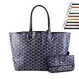 Stylesty Fashion Shopping PU Tote Bag, Designer Shoulder Handbags with Key Ring (Large, Dark Blue)