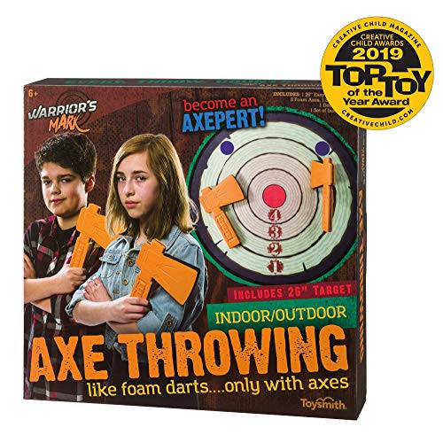 Toysmith Warrior's Mark Indoor/Outdoor Foam Axe Throwing Game – Winner Creative Child Magazine 2019 Toy of The Year