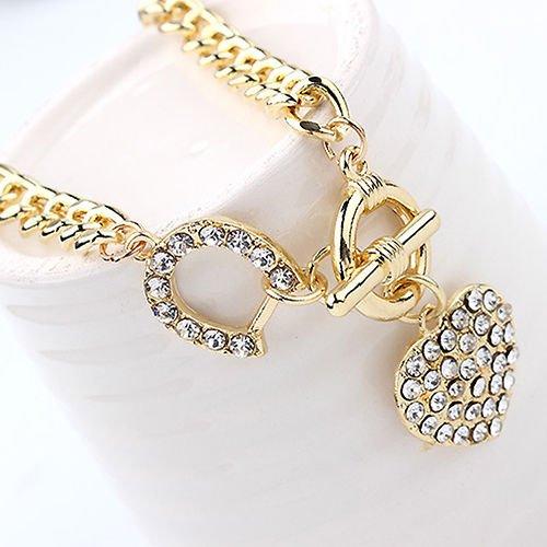 Phetmanee Shop EG _ BA _ FEMME STRASS breloque cœur pendentif court collier à chaîne Bijoux Coeur De Femmes