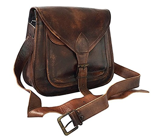 Women Vintage Style Genuine Brown Leather Cross Body Shoulder Bag Handmade - Leather Purse Vintage