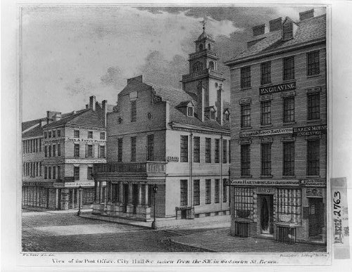 (Photo Reprint View of the post office, city hall andc. taken from the S.W. in Washington St. Boston)