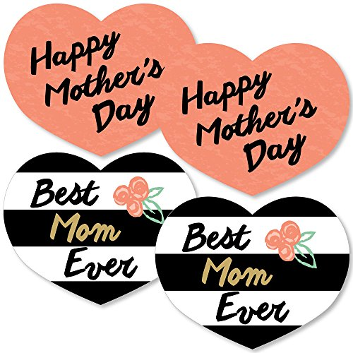 Mothers Day Centerpieces - Best Mom Ever - Heart Decorations DIY Mother's Day Essentials - Set of 20