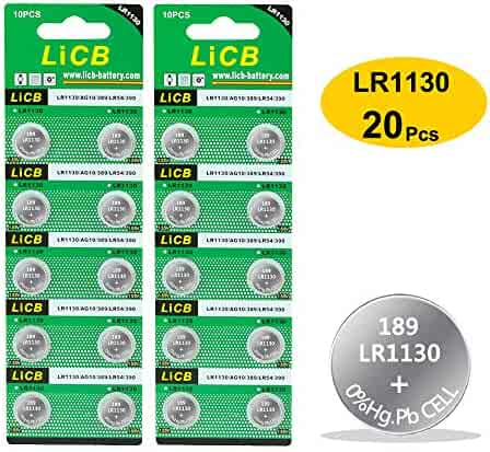 LiCB 20 Pack LR1130 AG10 Battery 1.5V Alkaline Button Cell Batteries for Watch