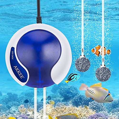 Ossigenatore per Acquario, AKKEE Risparmio Energyo Pompe d'Aria per Acquario 4.5W/3000mL , Silenziosa Pompa Ossigeno Acquario per Acquario di 50-300 Litres(Con 2 Pietra Porosa, 2 Tubi Flessibili)