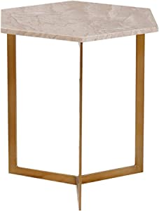 Coffee Tables WFF Metal Side Table Marble Sofa Table Hexagonal, 40 40 cm, Suitable for All Work