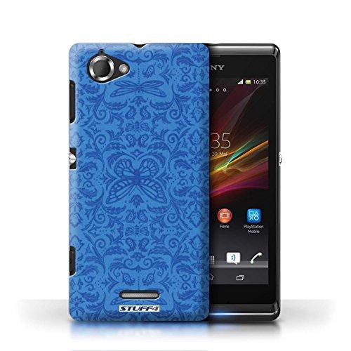 Etui / Coque pour Sony Xperia L/C2105 / Bleu conception / Collection de Motif médaillon