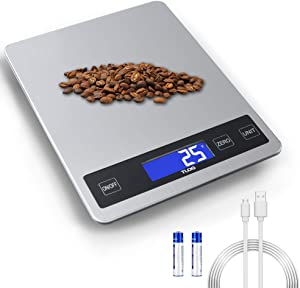 TLOG Rechargeable Food Scale, 22lb/10kg Digital Kitchen Scale Weight Grams and oz for Cooking & Baking, 1g/0.1oz Precise Graduation, Stainless Steel Surface and Tempered Glass with Large LCD Display