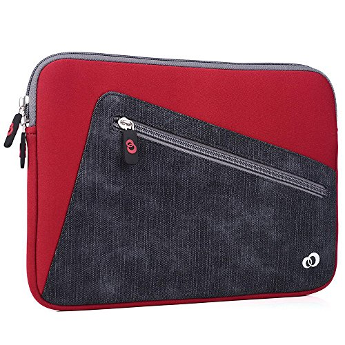 "Kroo Vortex Sleeve W/Accessory Pocket fits Polaroid 9-inch, S9, Ematic 10"" Genesis Prime XL Tablet (Aurora Red/Almost Black Universal Case) -  EnvyDeal, ND11VXR1