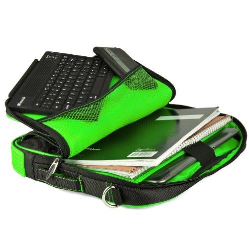 VanGoddy Pindar Messenger Carrying Bag for Samsung Galaxy Note PRO 12.2/Samsung Galaxy Tab PRO 12.2'' Tablets + Bluetooth Keyboard + Headphones (Green) by Vangoddy (Image #3)