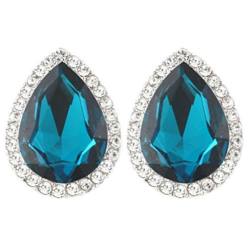 EVER FAITH Women's Austrian Crystal Wedding Teardrop Stud Earrings Turquoise Color Silver-Tone ()