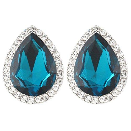 - EVER FAITH Women's Austrian Crystal Wedding Teardrop Stud Earrings Turquoise Color Silver-Tone