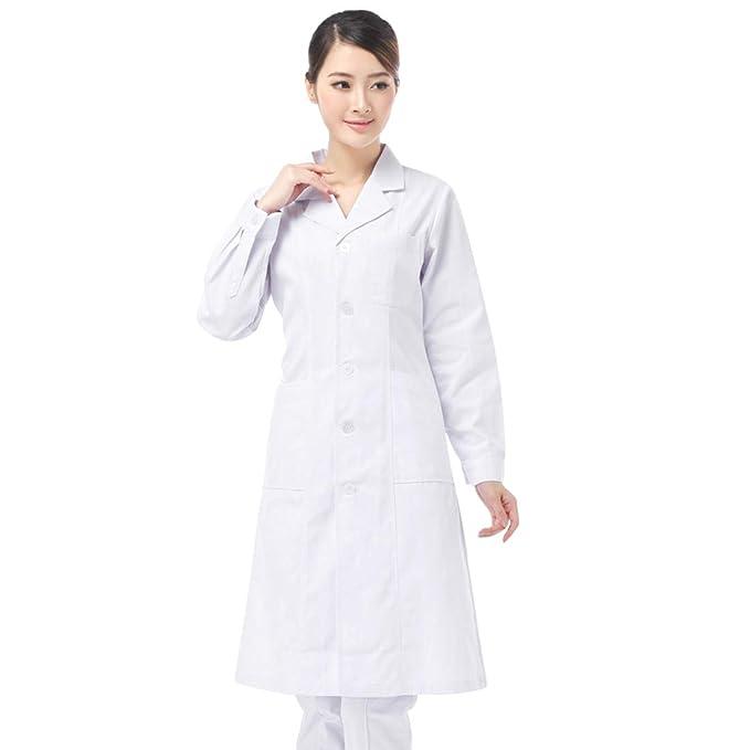 Jiyaru Mujer Bata de Laboratorio Blanco Bata de Médico Uniforme Sanitario Ropa de Trabajo Actualización de la Tela S: Amazon.es: Ropa y accesorios