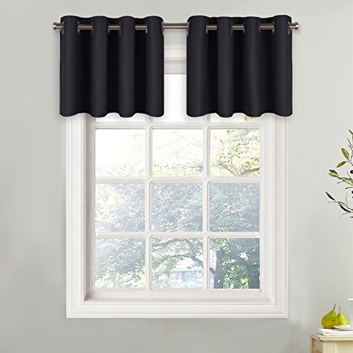 NICETOWN Blackout Valance for Small Window - Functional Plain Grommet Top Curtain Panel for Cafe (One Pack, W52 x L18 + 1.2 Inches Header, Black) (Black Grommet Valance)