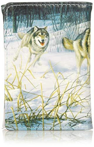 Buxton Men's Wildlife Running Wild Wolves Three-Fold Accessory, ()
