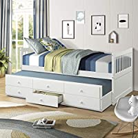 MIERES Bunk Trundle and Stairs,Wood Stairway Twin/Full Bed Frame with Storage and Safety Rails