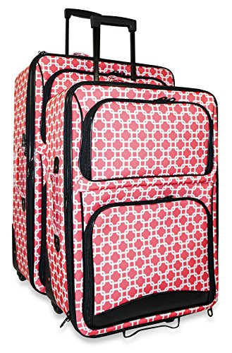 Ever Moda Chain Link 2-Piece Luggage Set (Coral Pink)