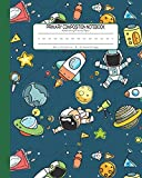 #8: Primary Composition Notebook Handwriting Practice Paper: Kindergarten to Early Childhood Exercise Book | 120 Dashed Midline Pages | Green - Astronaut (Outer Space Astronomy Series)