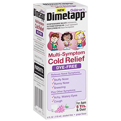 Dimetapp Children's Multi-Symptom Cold Relief Dye-Free Grape Flavored Liquid, 4 Fluid Ounce ()