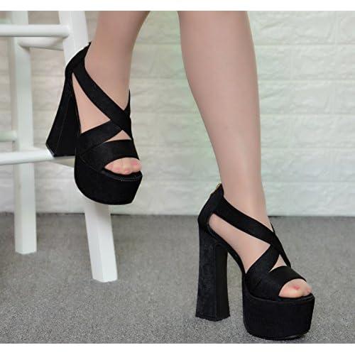 caaa9e63 70% OFF XiaoGao Etapa super duro talón sandalias de tacon 15 cm,Black