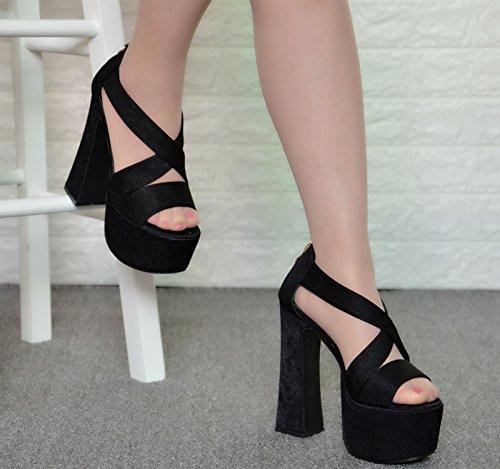 XiaoGao Verano nuevas sandalias de tacón super 16 cm zapatos de club nocturno de satén