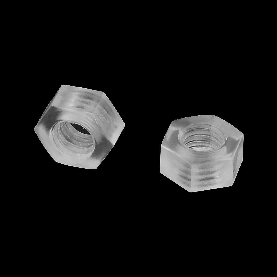 sourcingmap/® syst/ème m/étrique M6 t/ête hexagonale en nylon Ins/érer vis fixation /écrous hexagonaux 50pcs claire
