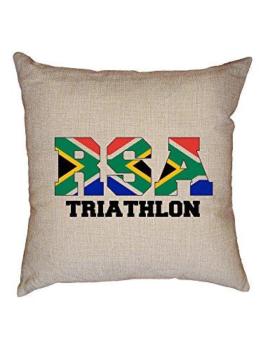Hollywood Thread South Africa Triathlon - Olympic Games - Rio - Flag Decorative Linen Throw Cushion Pillow Case with Insert